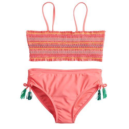 Girls 7-16 SO® Smocket Top & Bottoms Swimsuit Set