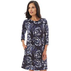 Petites Apt. 9® Print Rouched-Sleeve Swing Dress