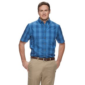 Big & Tall Haggar Weekender Classic-Fit Plaid Button-Down Shirt