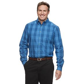 Big & Tall Haggar Weekender Classic-Fit Plaid Button-Down Shirt