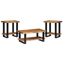 Alaterre Furniture Alpine Live Edge Coffee Table & End Table 3-piece Set
