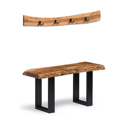 Alaterre Furniture Alpine Live Edge Bench, Coat Hook & Key Holder 3-piece Set