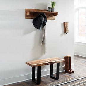 Alaterre Furniture Alpine Live Edge Bench & Coat Hook Wall Shelf 2-piece Set