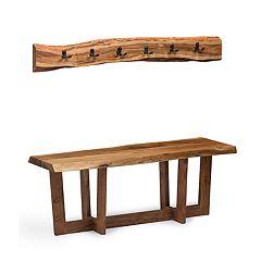 Alaterre Furniture Berkshire Large Live Edge Bench & Coat Hook 2-piece Set