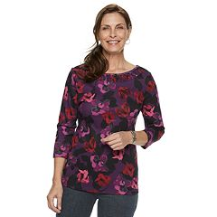 Women's Croft & Barrow® Smocked Boatneck Top