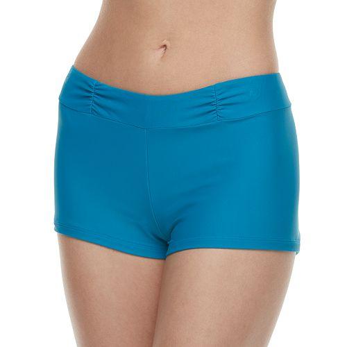Women's Aqua Couture Solid Boyshort Swim Bottoms