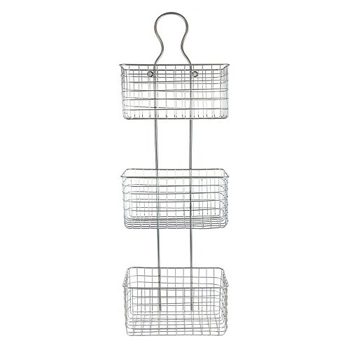 Belle Maison Silver Finish 3-Basket Wall Decor