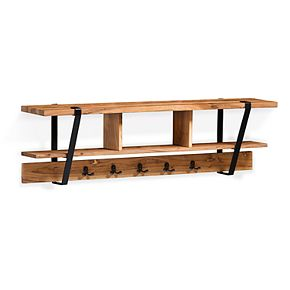 Alaterre Furniture Ryegate Live Edge Entryway Storage Wall Shelf