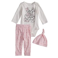 Disney's Donald & Daisy Duck Baby Girl Graphic Bodysuit, Polka-Dot Pants & Hat Set by Jumping Beans®