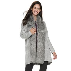 Women's Jennifer Lopez Faux-Fur Trim Dolman Cardigan