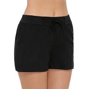 Women's Croft & Barrow® Tummy Slimmer Woven Swim Shorts