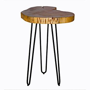 Alaterre Furniture Hairpin Live Edge Round End Table