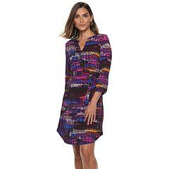Women's Dana Buchman Print Henley Shirt Dress