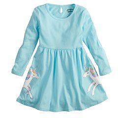 Toddler Girl Jumping Beans® Long-Sleeve Glitter Unicorn Skater Dress