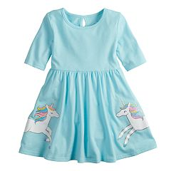 Toddler Girl Jumping Beans® Elbow-Sleeve Glitter Unicorn Skater Dress