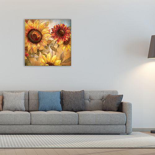 "New View Sunflower Cheer 24"" x 24"" Canvas Wall Art"