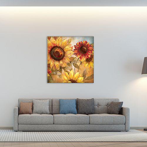 "New View Sunflower Cheer 35"" x 35"" Canvas Wall Art"