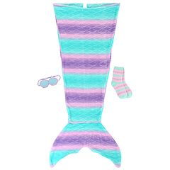 Girls Mermaid Tail, Striped Socks & Sea Shell Eye Mask Sleep Set