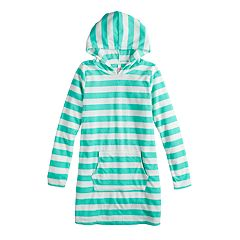 Girls 7-16 SO® Striped French Terry Hooded Swimsuit Cover-Up