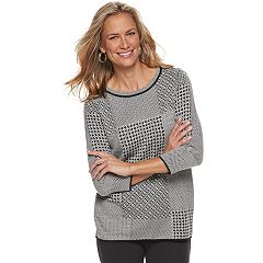 Women's Dana Buchman Houndstooth Patchwork Sweater