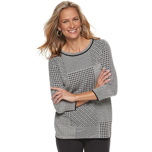 Women's Dana Buchman Houndstooth Patchwork Sweater