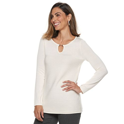 Women's Dana Buchman Textured  Keyhole Sweater