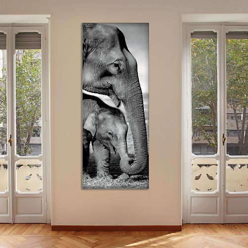 "New View Elephants 16"" x 40"" Canvas Wall Art"