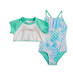 Girls 4-16 SO® Mermaid Rashguard & One-piece Swimsuit Set