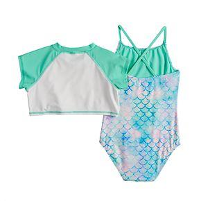 Girls 4-16 SO® Mermaid Rashguard & One-piece Swimsuit Set