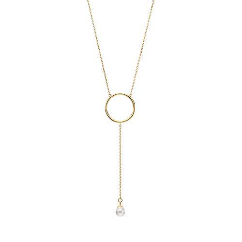 Brilliance Circle Y Necklace with Swarovski Crystal Pearls
