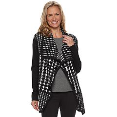 Women's Dana Buchman Houndstooth Draped Open-Front Cardigan