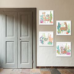 New View Lovely Llamas Canvas Wall Art 4-piece Set