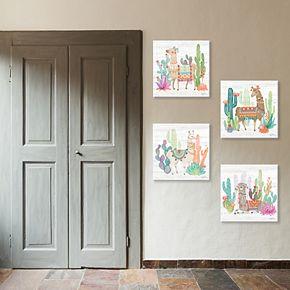 New View Lovely Llamas Canvas Wall Art 4-piece Set