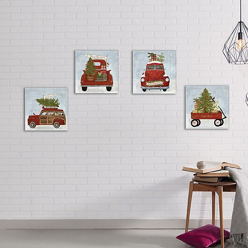 New View Holiday Trucks Christmas Canvas Wall Art 4-piece Set