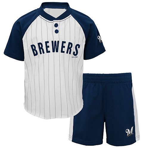 Baby Boy Milwaukee Brewers Henley Tee & Shorts Set