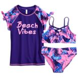 "Girls 7-16 SO® ""Beach Vibes"" Rashguard, Top & Bottoms Swimsuit Set"