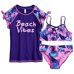 Girls 7-16 SO® 'Beach Vibes' Rashguard, Top & Bottoms Swimsuit Set