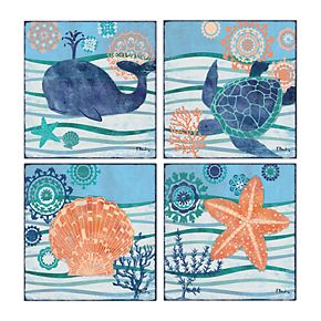 New View Sea Treasures Canvas Wall Art 4-piece Set