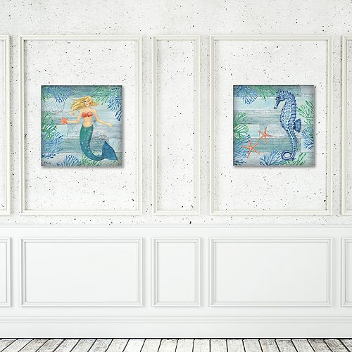New View Clearwater Seahorse & Mermaid Canvas Wall Art 2-piece Set