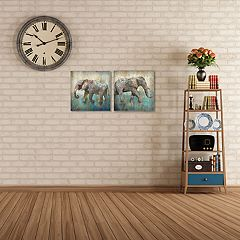 New View Elephant Canvas Wall Art 2-piece Set