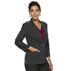 Women's Dana Buchman Roll-Cuff Solid Blazer