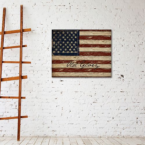 """New View Old Glory 16"""" x 20"""" American Flag Canvas Wall Art"""