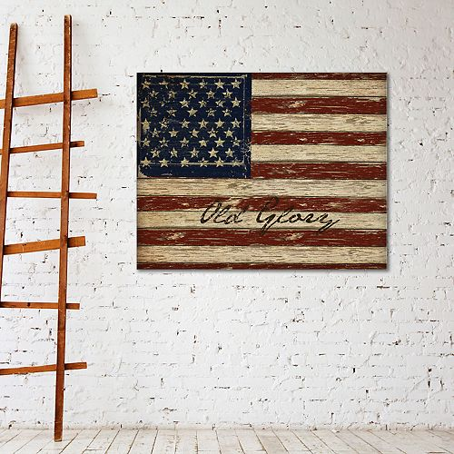 "New View Old Glory 22"" x 28"" American Flag Canvas Wall Art"