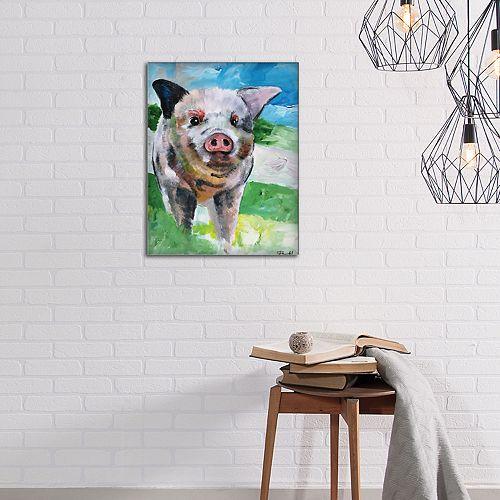 New View Farm Pig Canvas Wall Art