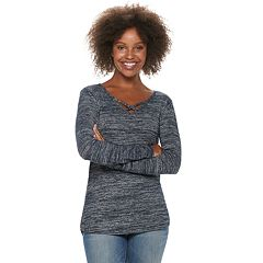Petite SONOMA Goods for Life™ Supersoft Crisscross Long Sleeve Top