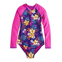 Girls 7-16 SO® Tropic 1/2 Zip One-Piece Swimsuit