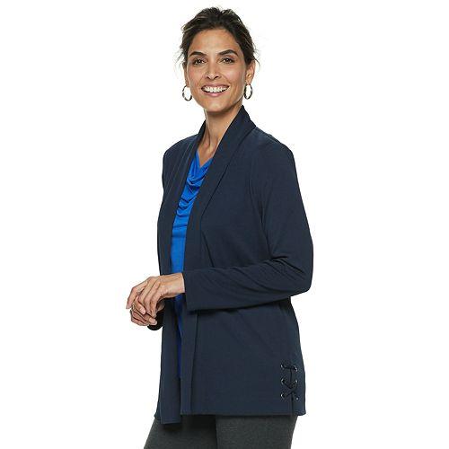 Women's Dana Buchman Travel Anywhere Open-Front Lace Up Blazer