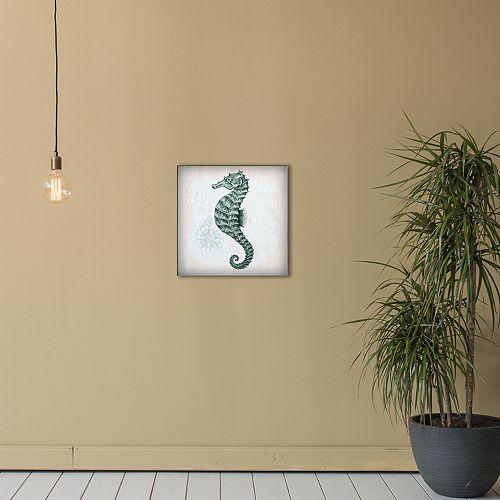 "New View Nautical 4 Seahorse 12"" x 12"" Canvas Wall Art"