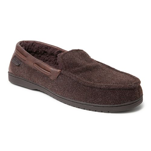 Men's Dearfoams Mixed Material Moccasin Slippers