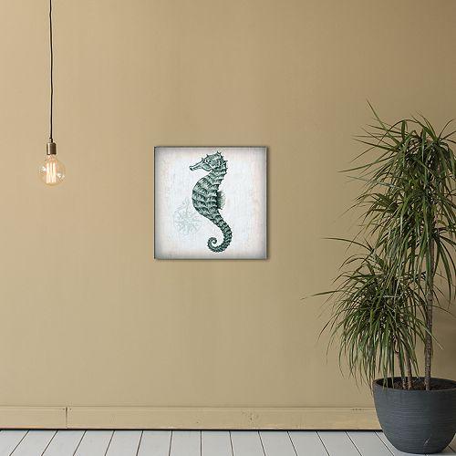 "New View Nautical 4 Seahorse 16"" x 16"" Canvas Wall Art"